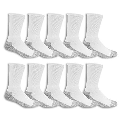 Fruit of the Loom Men's 10 Pack Everyday Work Crew Socks, White, Shoe Size: 6-12 (Sock Size: 10-13)