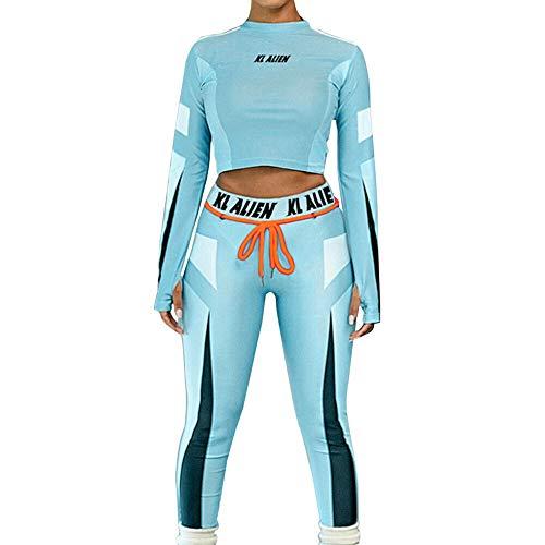 Ansemen Damen Sportbekleidung Sexy Slim Fit Yoga Suit Casual Bodycon Jogginganzug Langarmhemd Jumpsuit S - L