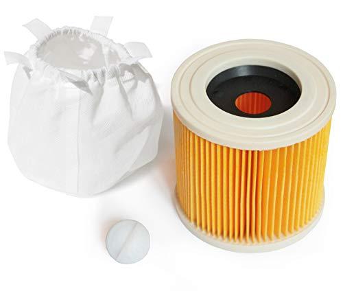 MI:KA:FI 1x Patronenfilter mit 1x Filterschutz | für Kärcher Mehrzwecksauger + Nass-/Trockensauger + Waschsauger | WD2 + WD3 + WD3.200 + WD3.300 M + WD3.500 P + SE 4001 + SE 4002 | wie 6.414-552.0