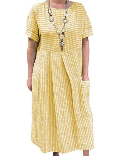 Hellomiko Ladies Bohemian O-Neck Vestidos de Lino de algodón Ligero Loose Fit Bolsillos a Rayas Vestido