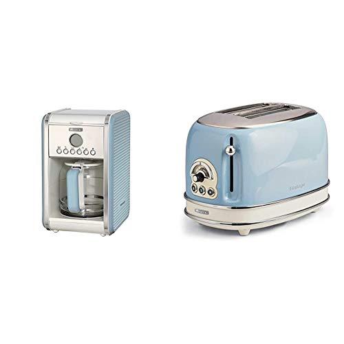 Ariete 1342 1342BL 12-Tassen-Kaffeemaschine Vintage, 2000 W, blau, Kunststoff, 2.1 liters & 155 Toaster mit 2 Schlitzen Vintage Céleste
