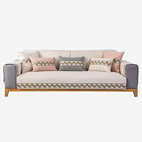 Homeen Cubierta de sofá de Lino de Alto Grado,Cubierta de sofá Antideslizante Universal,Protector de sofá seccional para sofá de Tela/sofá de Cuero-Beige_110 * 180 cm