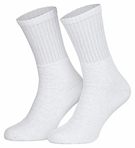 5 Paar Tennissocken Weiss Damen Herren Kinder ohne Gummi Baumwolle 43-46