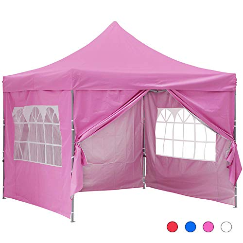GDY 10x10 Ft Outdoor Pop Up Canopy Tent Commercial Portable Instant Folding Shelter Gazebos Blue Waterproof Canopies with Carrying Bag (Pink with 4 Sidewalls)