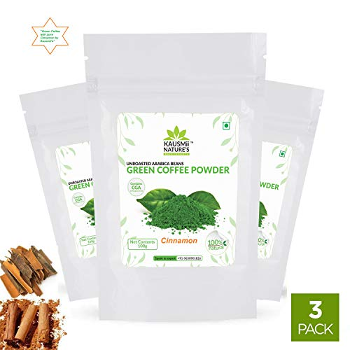Kausmii Natures Organic Green Coffee Beans Powder with Delicious Cinnamon Powder ,Instant Coffee for Weight Loss Management ( 100g,Cinnamon ) (Pack of 3)
