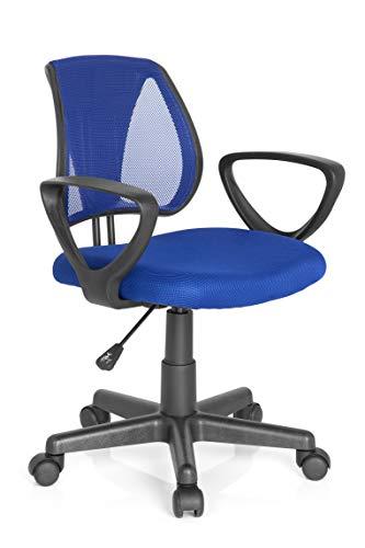 hjh OFFICE 725101 Kinder- und Jugenddrehstuhl KIDDY CD Netzstoff Dunkelblau höhenverstellbare Rückenlehne, Stuhl mit Armlehnen