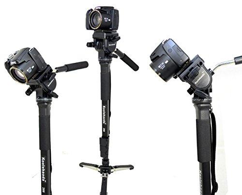 Koolehaoda Professional Camera Aluminium Monopod Fluid Video Head with Folding Three Feet Support Stand, Max:58.2