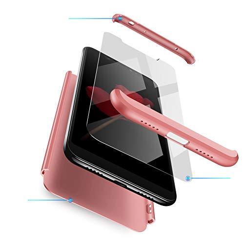 Funda XiaoMi Mi 8, Carcasa XiaoMi Mi 8 con[Protector de Pantalla de Vidrio Templado]3 en 1 Desmontable Anti-Arañazos XiaoMi Mi 8 Funda Protectora - 360 ° complete package protection - Rose Oro