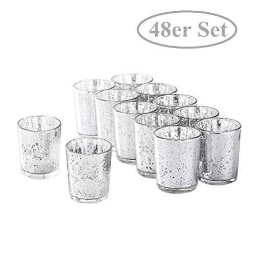 NEWLIGHTRUE Teelichtgläser 48 Stücke Silber Glas Votive Kerzenhalter Geschenk oder Tischdeko für Geburtstag, Ostern, Hochzeit, Muttertag (Silber)