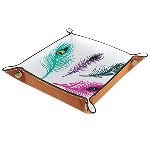 Bandeja de PU Cuero, Almacenamiento Organizador para Joyas, Caja Relojes, Llaves, Monedas, Teléfonos, Cartera, Moneda Plumas de pavo real pintadas modernas.