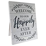 "Barnyard Designs Welcome to Our Happily Ever After Sign Rustic Vintage Decor for Weddings and Home 23.5"" x 17.75"""