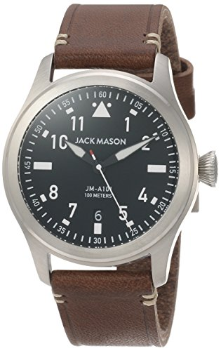 Jack Mason Men's Watch Aviator Brown Italian...