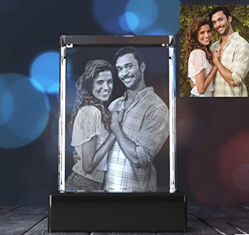 3D Photo Crystal Gift - Rectangle Portrait Shape | Custom Personalized Etched Laser Engraved Glass | Birthday, Anniversary, Mother's Day, Father's Day, Christmas - Perfect for Any Occasion