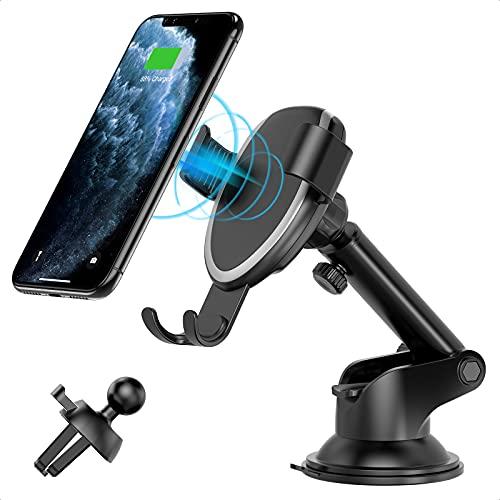 Wireless Charger Auto Handyhalterung 7.5W/10W, Fast Wireless Charger Auto Handyhalterung Induktive Auto Ladegerät für iPhone 12/12 Pro/SE 2020/11/11Pro/XR/XS,Galaxy S20/Note 10+/S10/S9/S8,Huawei