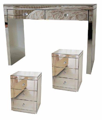 MY-Furniture CHELSEA-Reihe, Verspiegelte Schminktische/Konsolen und 2x verspiegelte Nachttische mit je drei Schubladen