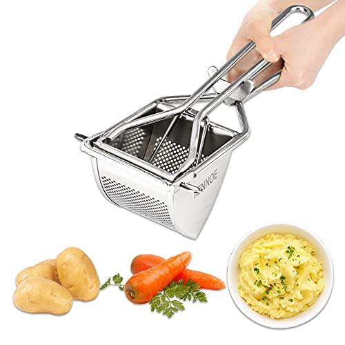 KENNOE Prensa de patatas de acero inoxidable, 30,5 cm, prensa de patatas, prensador de patatas, triángulo para puré de patatas, zumos de frutas, puré de verduras, inoxidable, apto para lavavajillas