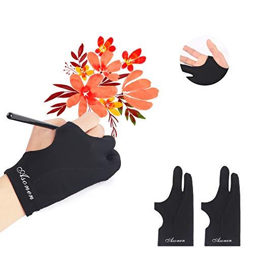 Asonen - Künstler-Handschuhe zum Zeichnen, 2er-Pack, dreischichtig, feste Anti-Touch, Malen und digitale Zeichnung auf Grafik-Tablets, universelle rechte und linke Hand.