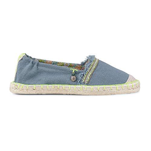 Cox Damen Fashion-Espadrilles mit Neon-Naht, Slipper in Blau mit geflochtenem Bast Blau Textil 38