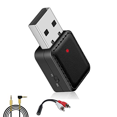 Upgrade USB Bluetooth 5.0 Car Bluetooth Receiver and Transmitter with Mode Switch RCA,Aux Bluetooth Adapter USB to 3.5mm Jack Wireless Music Audio Receiver with Mic for Car Speakers Home TV Laptop PC