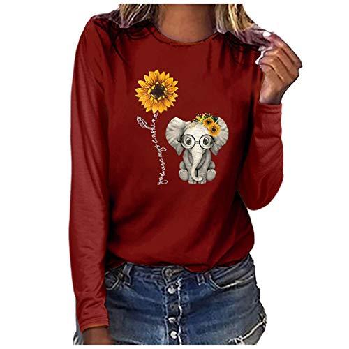 Andouy Damen Modisch Brief Gedruckt Pullover Pulli Oversized Leicht Lange Ärmel Rundhals Sweatshirts Oberteile Bluse(M.Wein-4)