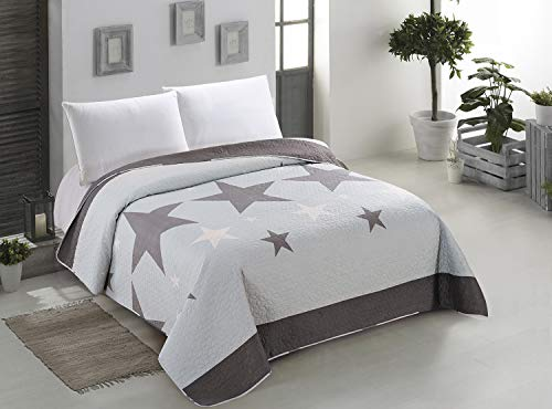 AmeliaHome Stardark Tagesdecke, Polyester, grau, 220 x 240