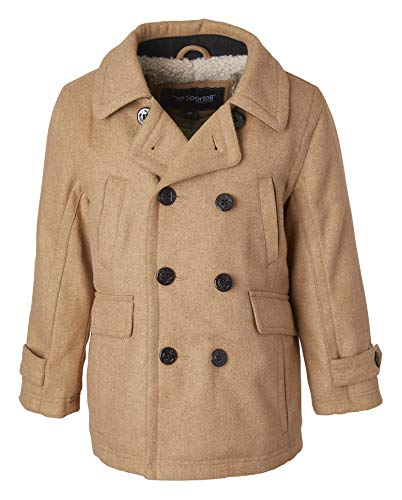 Sportoli Boy Classic Wool Blend Sherpa Winter Dress Pea Coat Peacoat Jacket - Camel (Size 5/6)