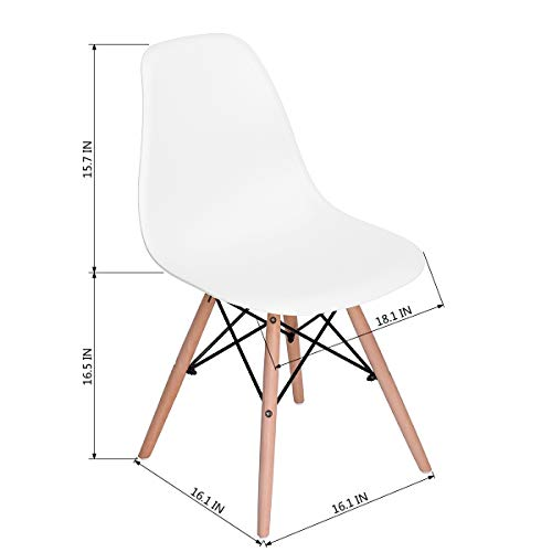 CozyCasa Dining Chairs Modern Style Dining Chairs Mid Century DSW Chair Shell Lounge Plastic Chair for Kitchen Dining Living Room Side Chairs Set of 6, White