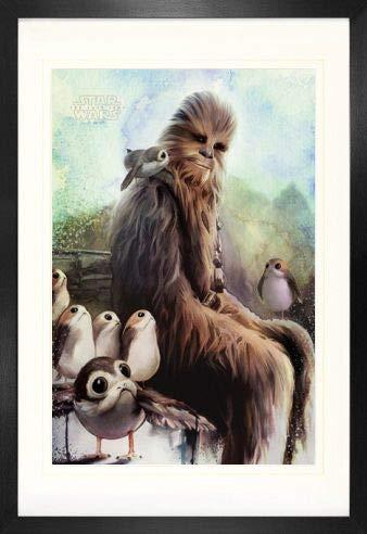 1art1 Star Wars Episode Viii The Last Jedi Chewbacca & Porgs Poster (91 x 61cm) und MDF-Rahmen (120 x 80cm)