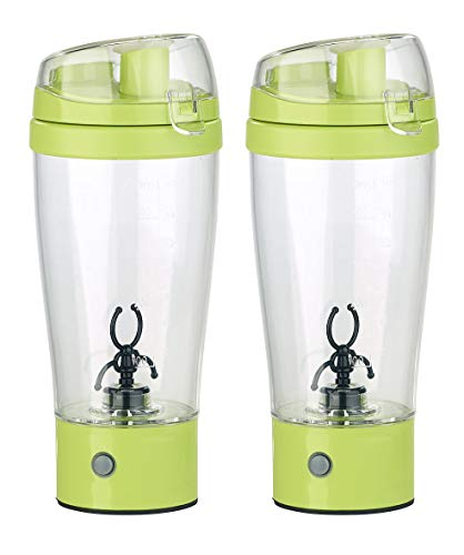 Rosenstein & Söhne Milch-Shaker: 2er-Set selbstrührende Trinkbecher mit elektrischem Quirl, BPA-frei (Blender-Shaker)