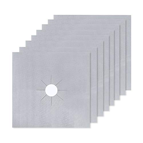 Protectores de Rango de Gas, LinStyle 8 Pcs Reutilizables Protectoras Universales para Hornillos de Gas, Estufa Protector de Quemador Superior - Plata, 27 x 27 cm