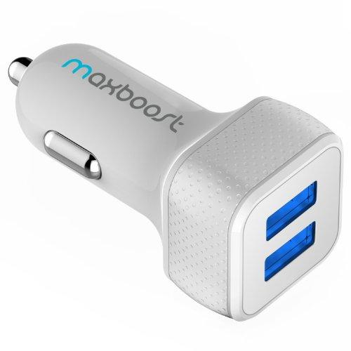 Cargador de coche, maxboost 4,8A/242-smart puerto USB cargador de coche–[blanco/gris] portátil rápido...