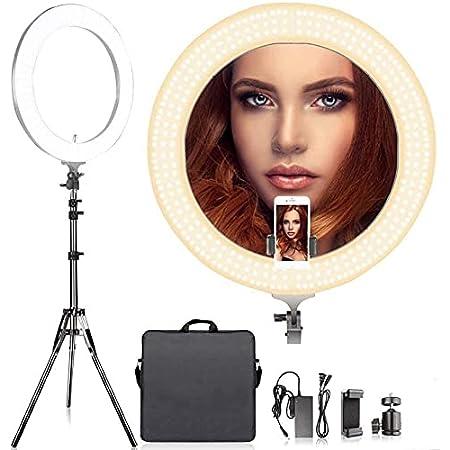Arisen リングライト 直径48cm/18インチ LEDリングライト カメラ写真ビデオ用照明キット 80W 2700K-5500K二色無段階調整 480個の高輝度SMD LED 2Mライトスタンド、Youtube、自撮り撮影、生放送、化粧、スマートフォンや一眼レフカメラなどに使う