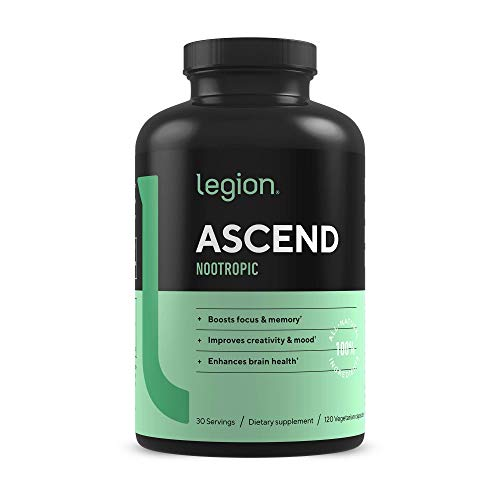 Legion Athletics Ascend Nootropic - All Natural Brain Supplement for Boosting Energy, Focus, & Memory - Banish Foggy Brain with Vitamins for Your Mind, Including CDP-Choline & Alpha-GPC - 30 svgs