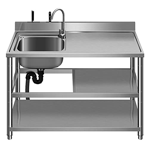 JPSHBA Fregadero de Acero Inoxidable,sobre encimera Fregadero de Verduras Integrado con Soporte Plataforma de un Solo Tanque Fregadero para lavavajillas doméstico