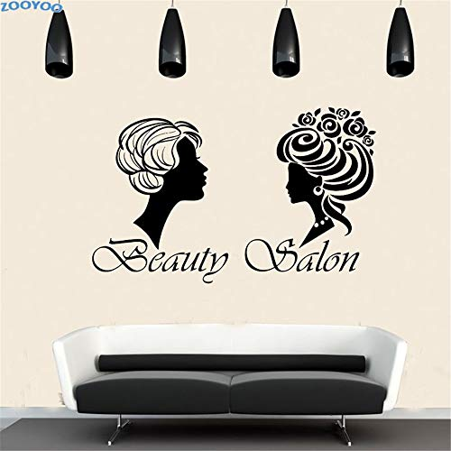 yiyiyaya Beauty Salon Wandaufkleber Zwei Verschiedene Frisuren Frauen Wandtattoo Abnehmbare wasserdichte Wandkunst Vinyl Dekoration Wandbilder weiß 68x43 cm