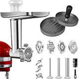 Grinder Attachment in metallo per mixer KitchenAid Stand Mixers, AMZCHEF Meat Grinder Attachment Inclusi 3 tubi di sausage Stuffer & A Holder,4 piastre grinding Plates,2 lamette