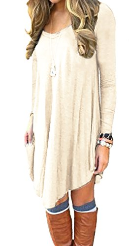 DEARCASE Women's Long Sleeve Casual Loose T-Shirt Dress Beige Medium