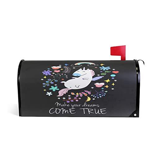 ZZKKO Eenhoorn maken uw dromen komen waar magnetische brievenbus Cover Wrap Post Brievenbus Cover voor buitenshuis Tuin Home Decor groot formaat 25,5 x 20,8 Inch 25.5