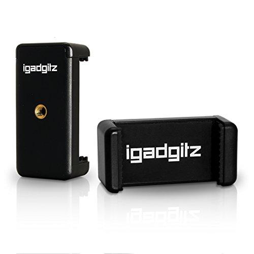 iGadgitz U4331-KIT PT310 Kompaktes Dreibeiniges Mini-Tischstativ und Griff Stabilisator + Handy Halter Halterung Stativadapter Clip – Schwarz