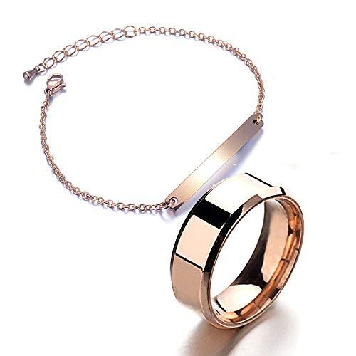 Limeow Armband roségoud set armbanden schakelarmband dames armband roestvrij staal armband armband voor dames armband roségoud verstelbare armband hanger armband ring gepersonaliseerde armband