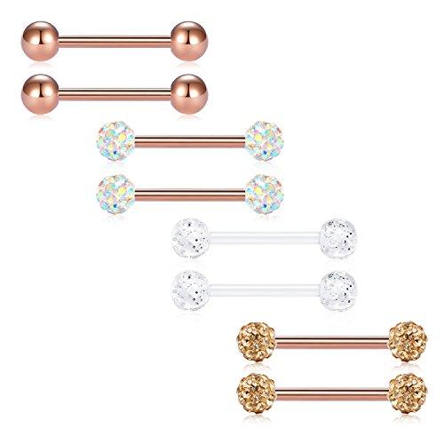 FECTAS 8er Zungenpiercing Barbell Set aus Edelstahl Bioflex Brustwarzenpiercing Bars 14mm