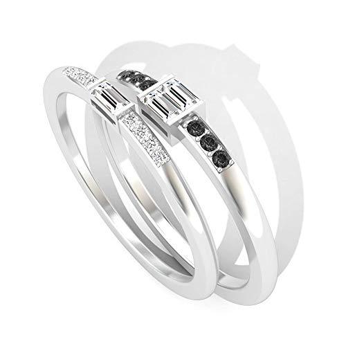0,23 Karat Baguette IGI zertifizierter Diamant Braut Passender Ring Set, schwarzer Diamant Hochzeit Jahrestag Ring für Frauen, Geburtstag Versprechen Stapelbare Ringe, 14K Weißes Gold, Size:EU 46