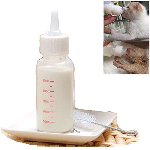 PEIUJIN 50 ml Recién Nacido Pet Pequeños Perros Cachorros Gato Gatito Leche Cuidado Enfermado Pup Leche Botella Cepillos Set Leche Feeder (Set A)