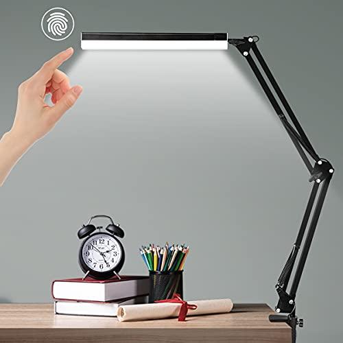 Ausbond Lámpara de escritorio LED táctil, lámpara de mesa USB, respetuosa con los ojos, altura ajustable, 3 colores, 10 niveles de brillo, lámpara de lectura LED para oficina, lectura, estudio