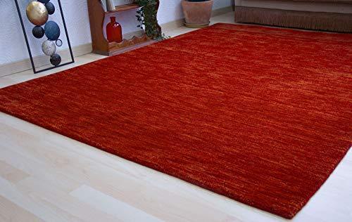 Steffensmeier Gabbeh Teppich Jaipur   Wolle, Rost, Größe: 120x180 cm Kurzflor Teppich für Wohnzimmer Handloom