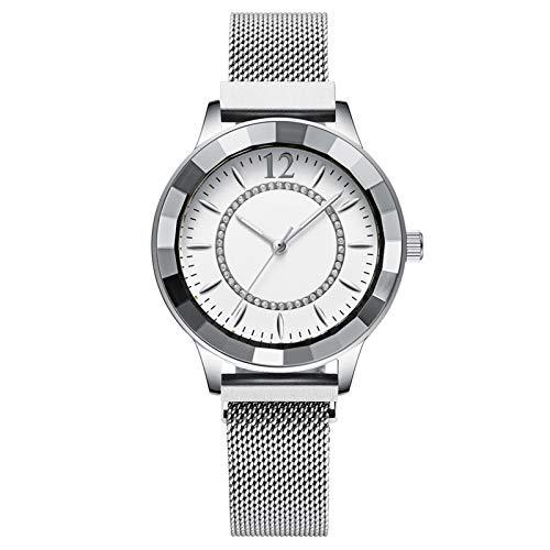 YQCH Relojes Mujeres Lady Watch Fashion Female Reloj Chicas Casual Cuarzo Movimiento Luxury Steel Correa Rhinestone Regalos (Color : E)