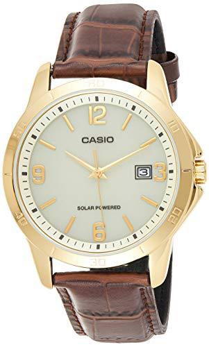 Casio Mtp-vs02gl-9a Reloj Analógico para Hombre Colección Solar Caja De Dorado Esfera Color Blanco