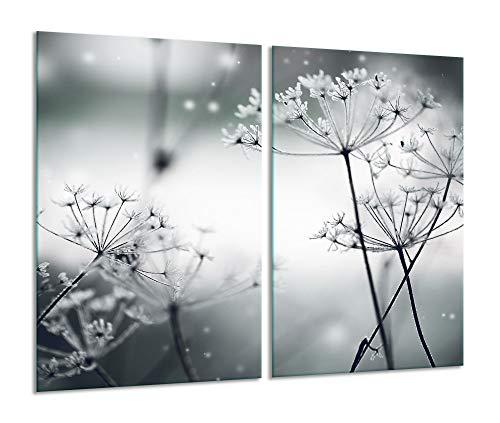 Herdabdeckplatte 2 teilig Ceranfeld Pusteblume Schwarz 2x30x52 Glas Induktion