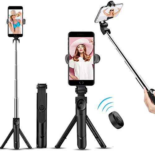 Selfie Stick Bluetooth, TBBSC Phone Tripod - Extendable Tripod Stick with Remote for Cell Phone Camera iPhone X 6/7/8/10/11 Plus Galaxy S8 S9 Plus,Huawei and More