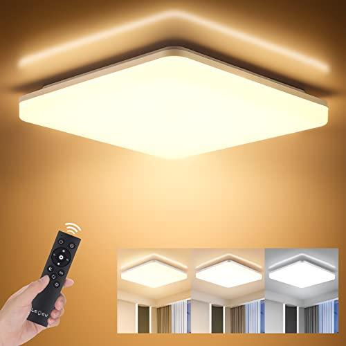 LED Deckenleuchte Dimmbar mit Fernbedienung, 24W 2400LM Deckenlampe, Helligkeit und Lichtfarbe einstellbar, LEOEU IP54 Bürodeckenleuchte für Wohnzimmer Schlafzimmer Bad Kücke Büro Hotel